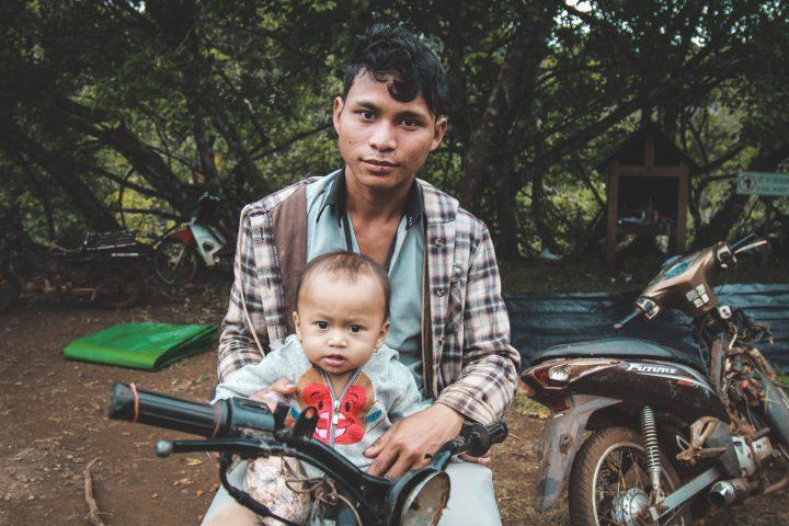 Father Son Baby Motorbike Cambodia