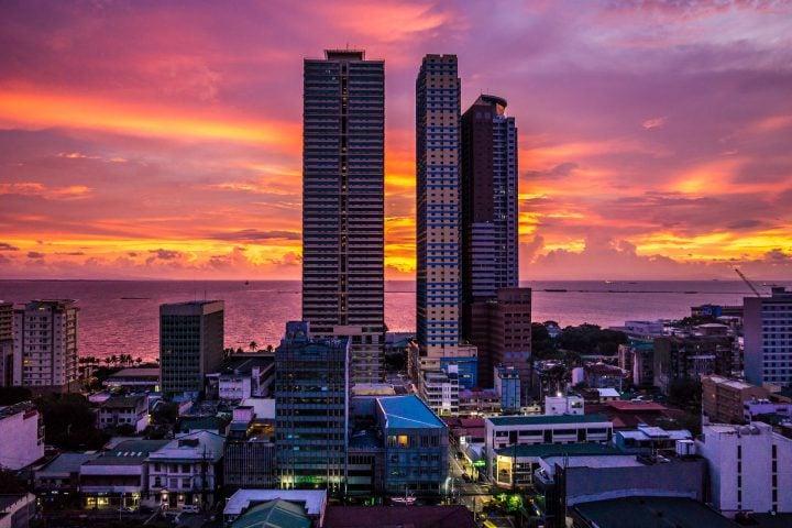 Manila Philippines Towers Sunset